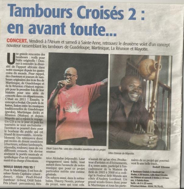 France Antilles 30 janvier 2013